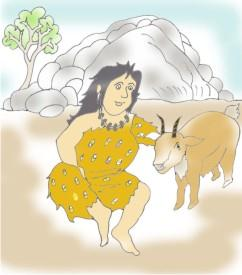 Early woman with goat image