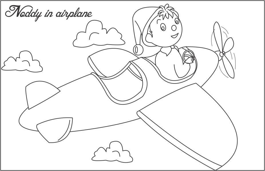 noddy in airplane printable coloring page for kids