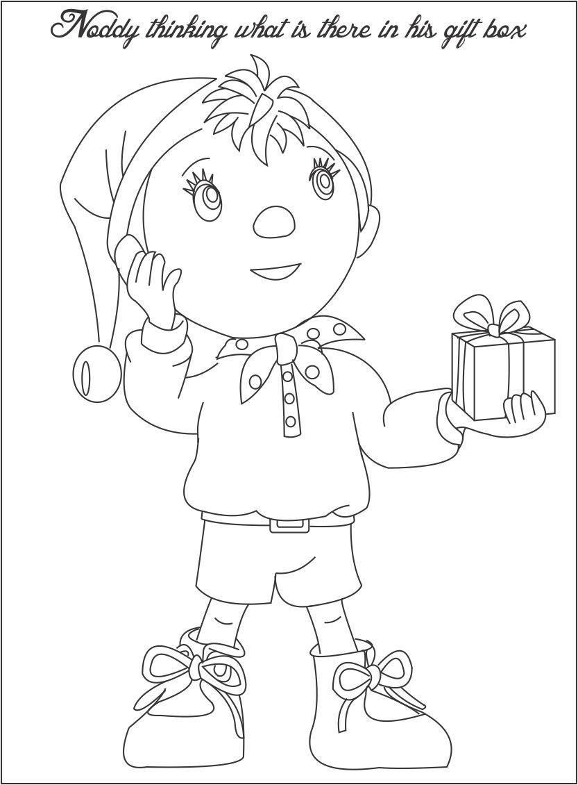 noddy thinking something coloring page for kids