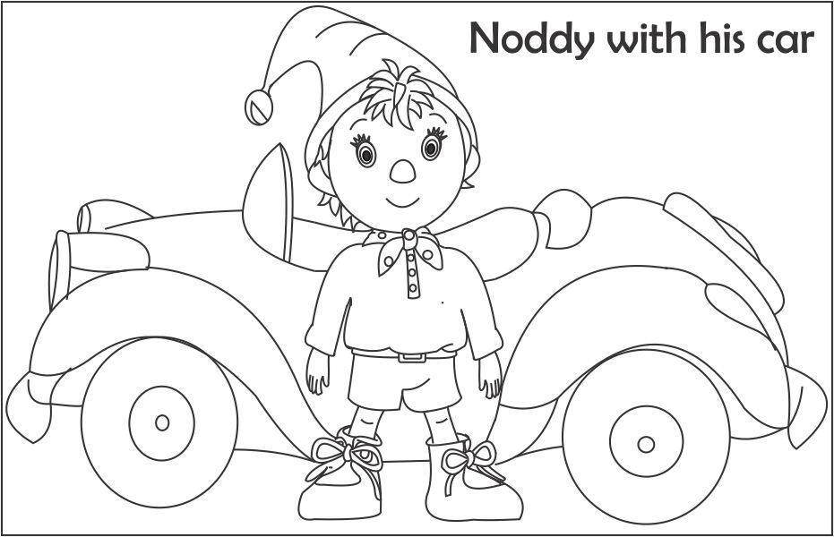 Noddy The Taxi Driver Coloring Page For Kids Noddy Colouring Pages