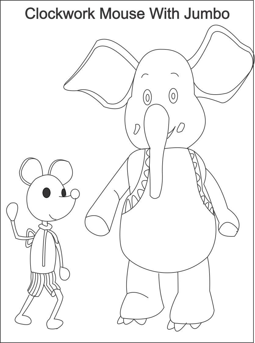 clock work mouse printable coloring page for kids