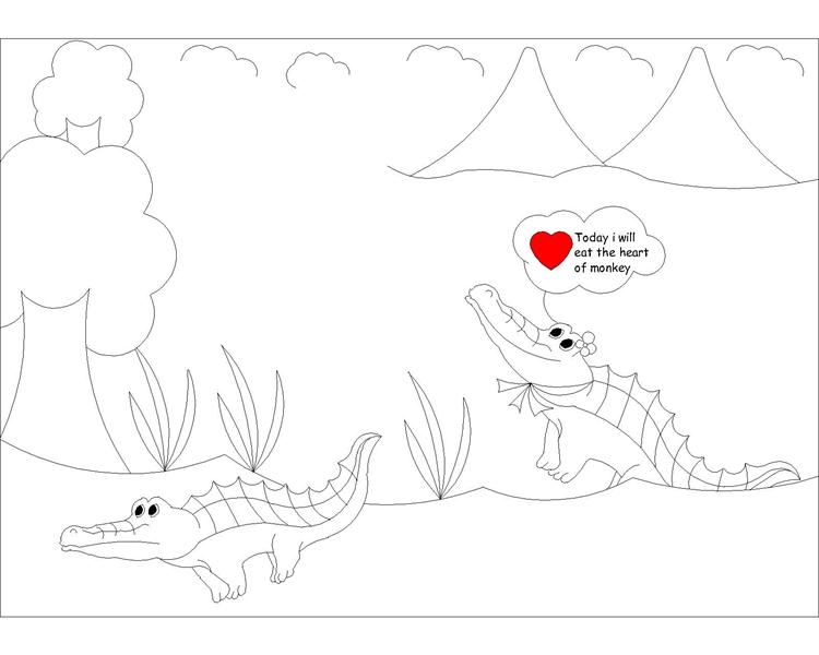 The Monkey and the Crocodile story coloring page 3