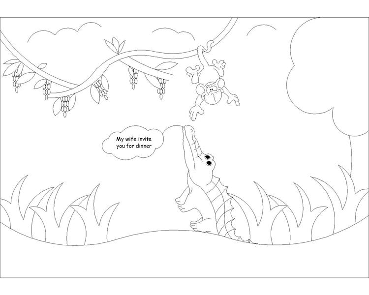 The Monkey and the Crocodile story coloring page 4