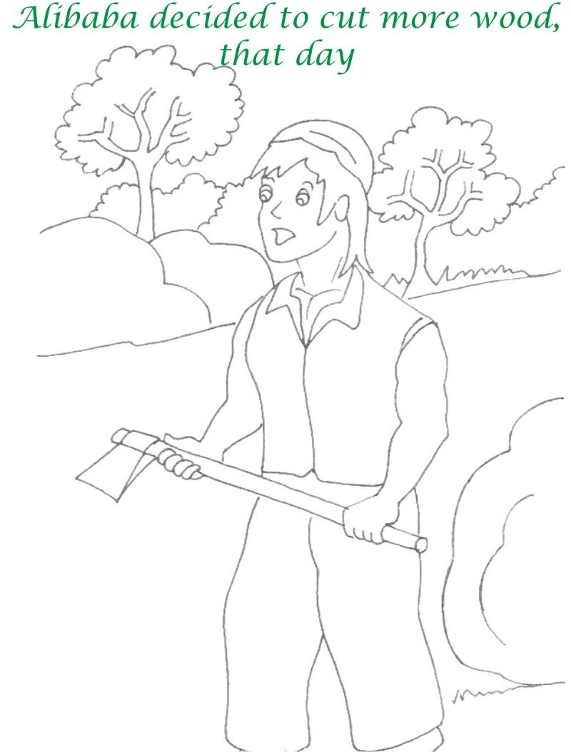 Alibaba story printable coloring page for kids 7