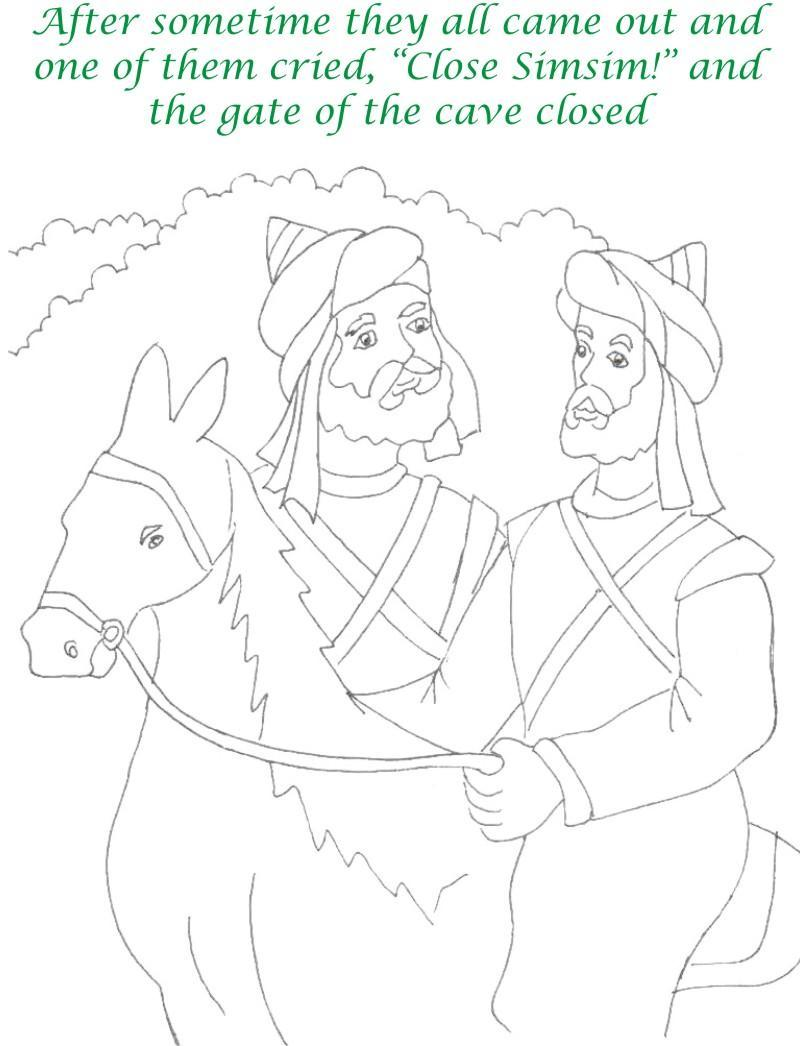 Alibaba story printable coloring page for kids 13