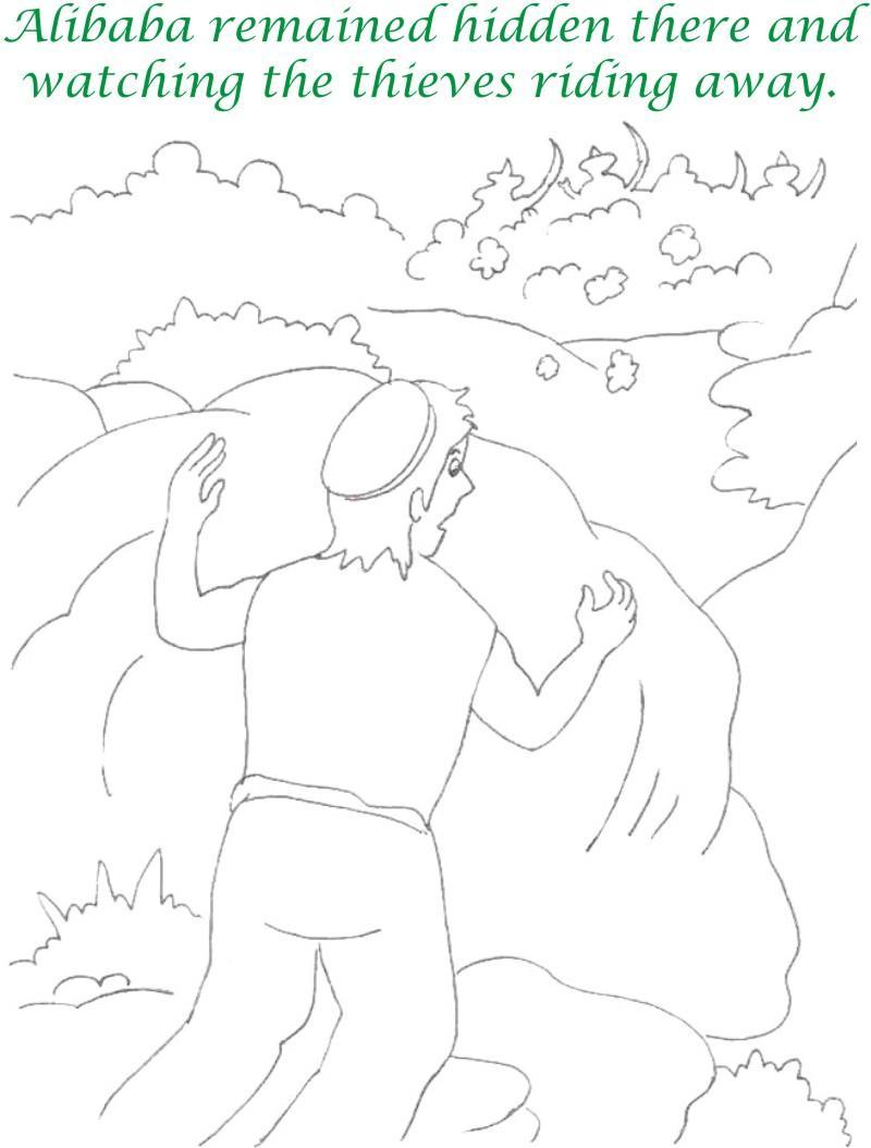 Alibaba story printable coloring page for kids 14