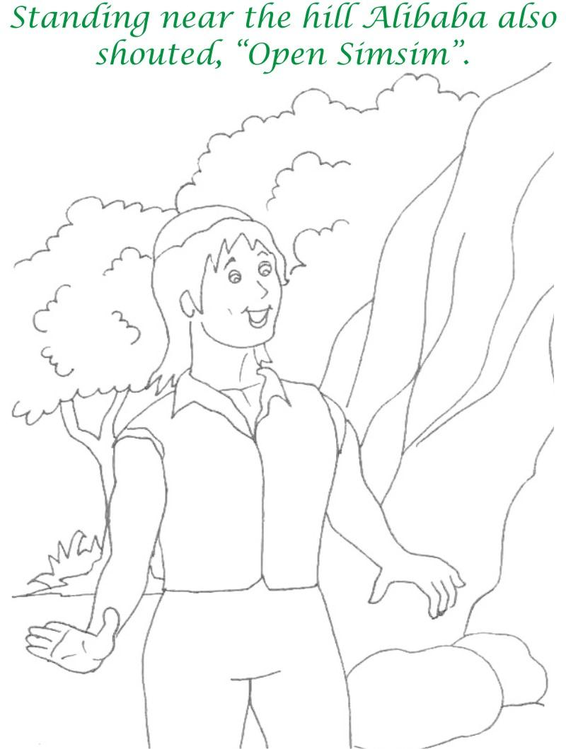 Alibaba story printable coloring page for kids 16