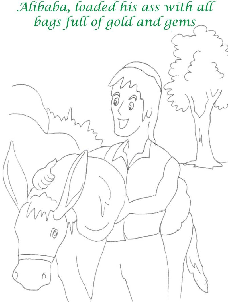 Alibaba story printable coloring page for kids 23