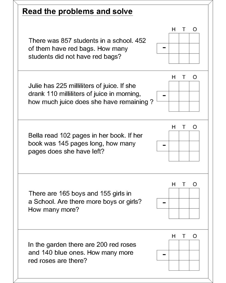 Worksheet Word Problems For Subtraction subtraction worksheets for kids find more word problem