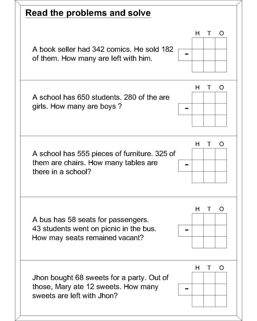 worksheet Math Problems Subtraction math subtraction worksheets