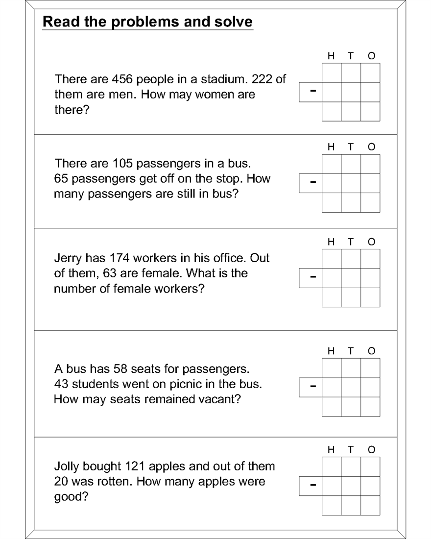 worksheet Math Problems Subtraction word problem subtraction math worksheets