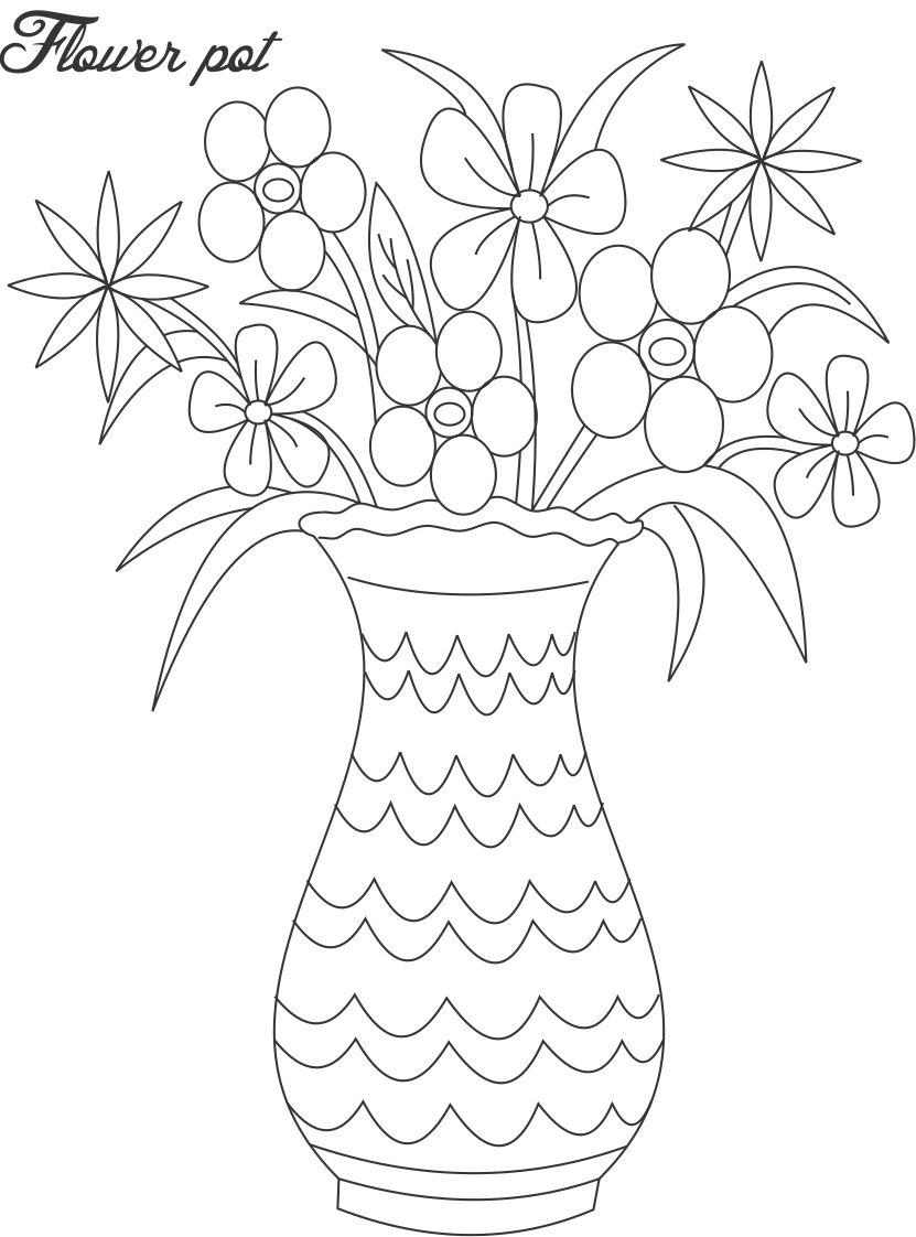 Flower pot coloring printable page for kids 1