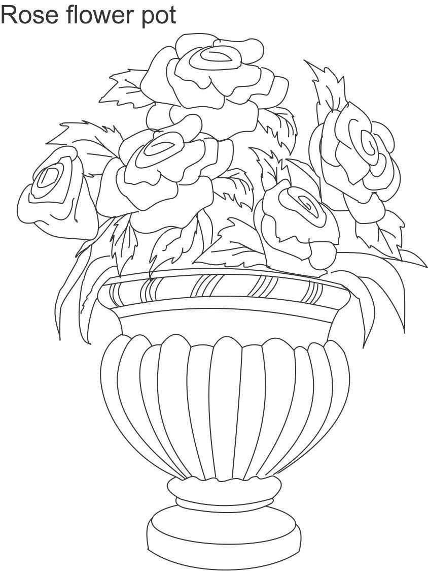 Flower Pot Coloring Printable Page For Kids 2