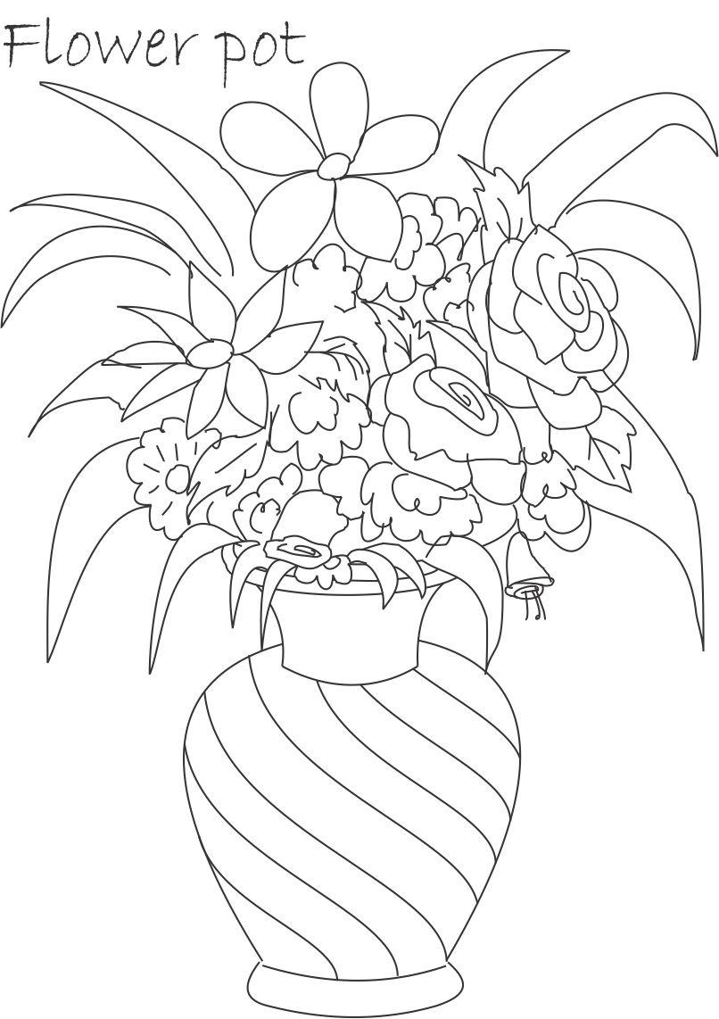 Flower Pot Coloring Printable Page For Kids 3