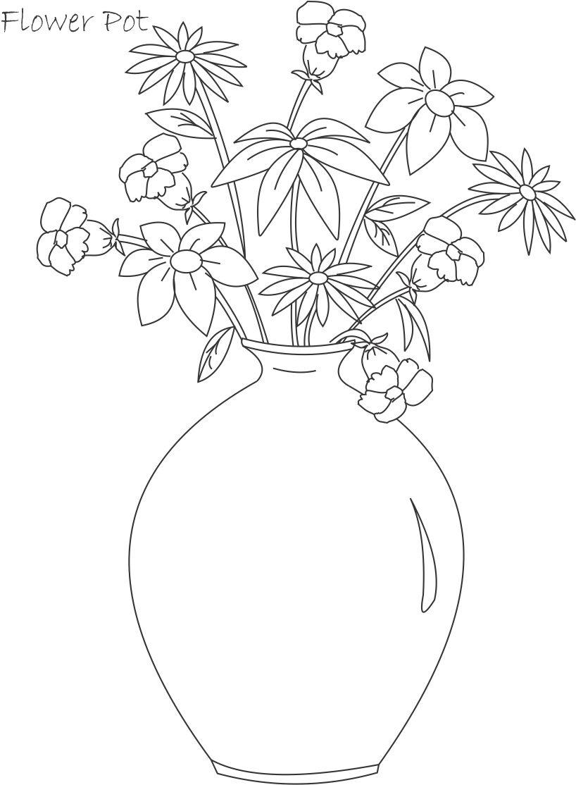 Flower Pot Coloring Printable Page For Kids 4