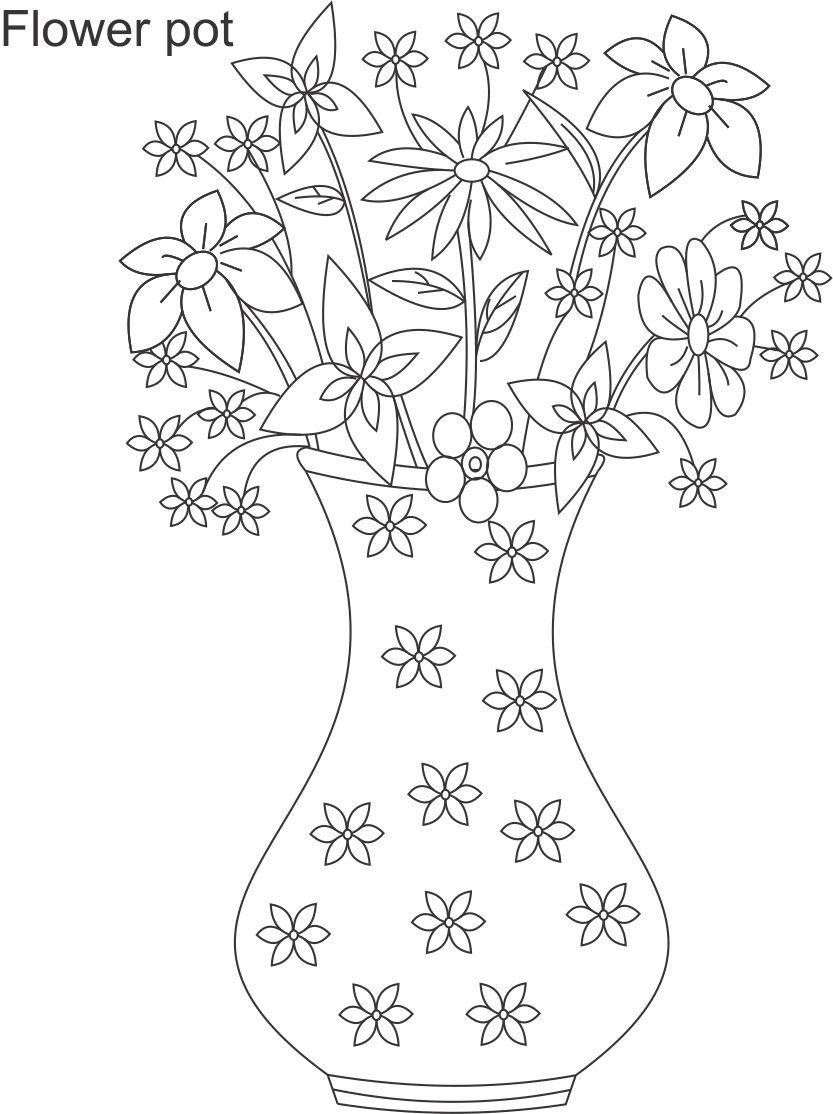 Flower Pot Coloring Printable Page For Kids 6 Pots Color Drawing
