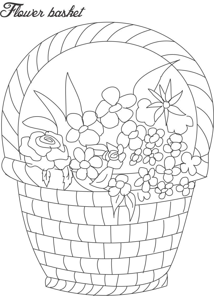 Flower Pot Coloring Printable Page For Kids 9
