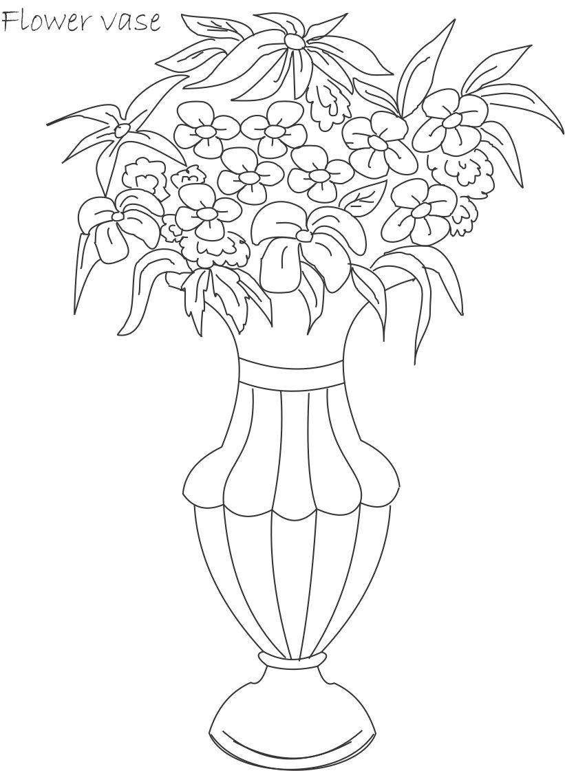 flower pot coloring printable page for kids 10