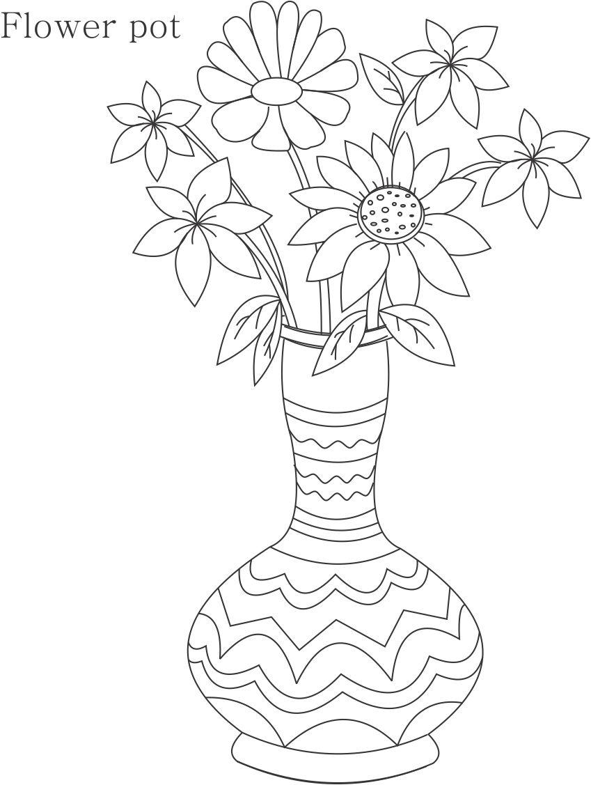 Flower Pot Coloring Printable Page For Kids 8