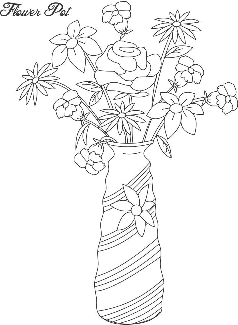 Flower pot coloring printable page for kids 12
