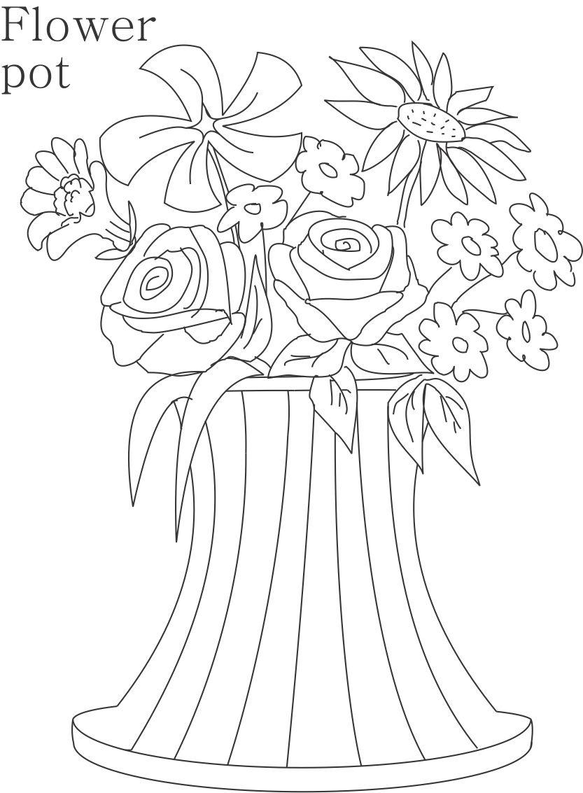 flower pot coloring printable page for kids 13