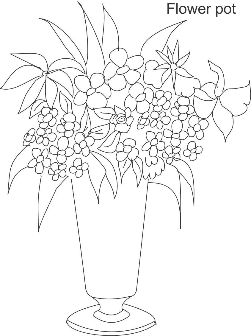 flower pot coloring page 11