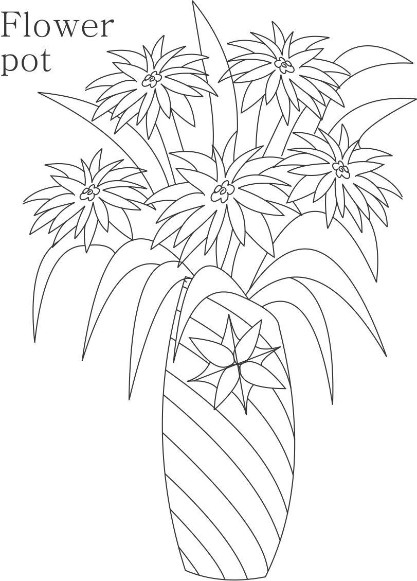 Flower Pot Coloring Printable Page For Kids 15