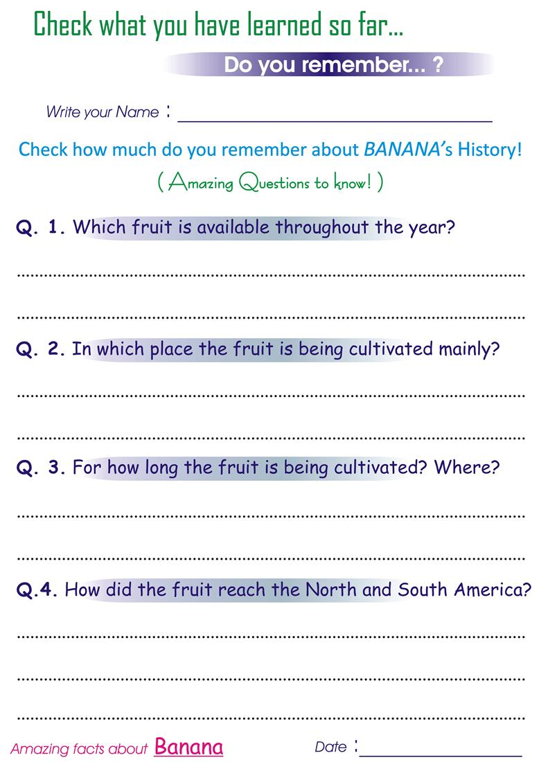 Questions on History of 'Banana' - Worksheets for kids