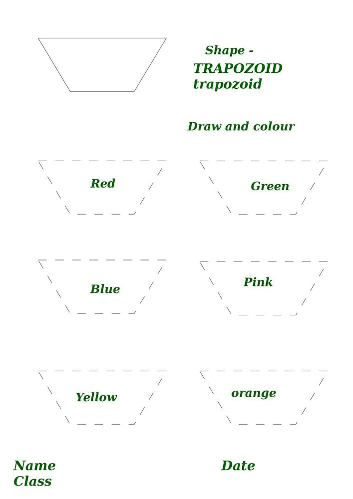 Shape activity worksheet trapozoid