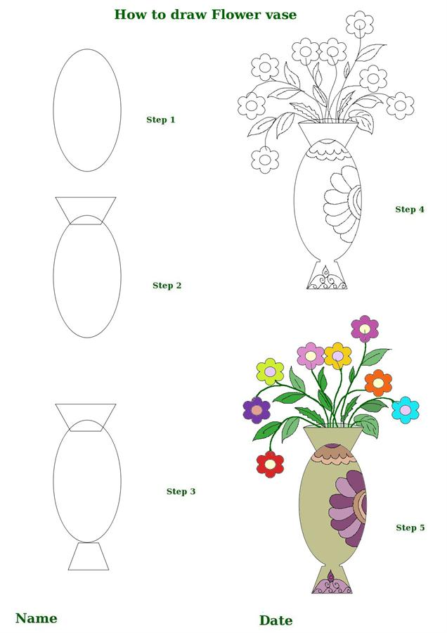 How To Draw Flower In A Vase