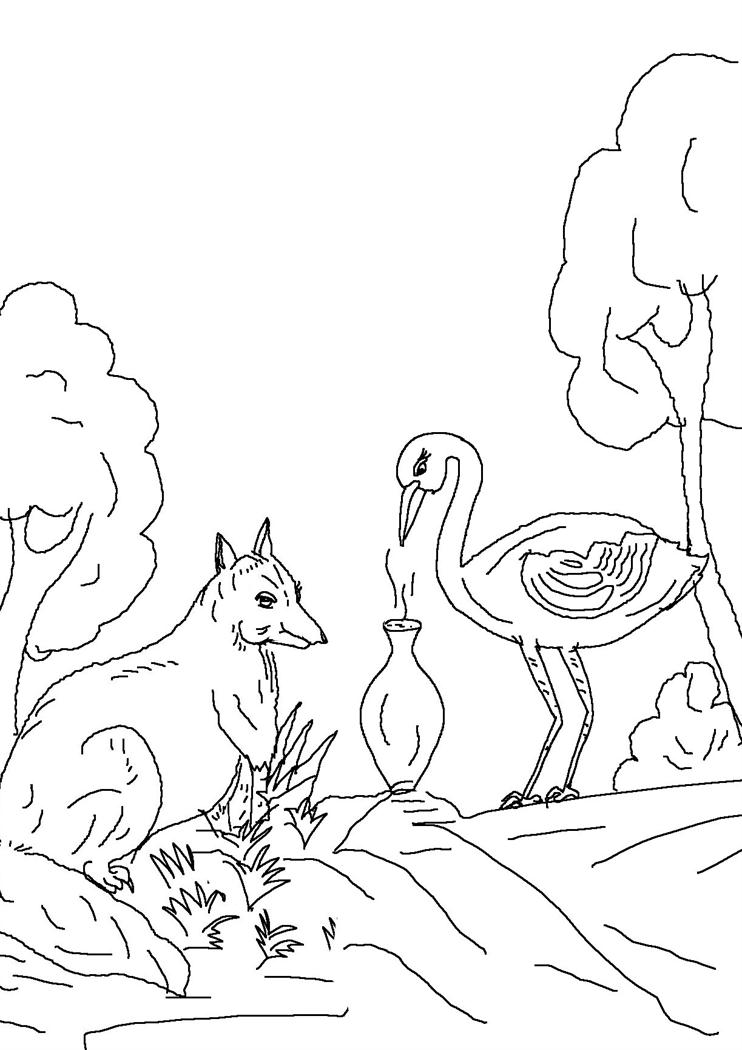 Fox and crane story colouring pages 5
