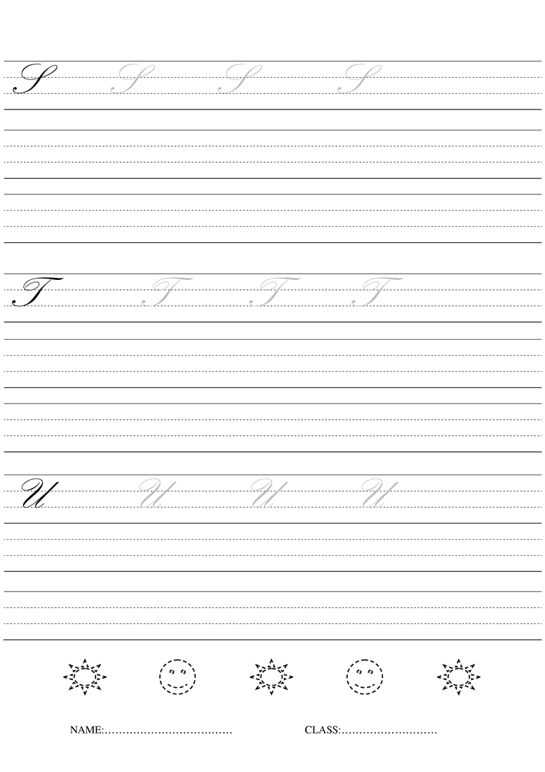cursive writing printouts Help your child practice writing in cursive with these free printable cursive worksheets upper and lowercase letters and practice words on each page.