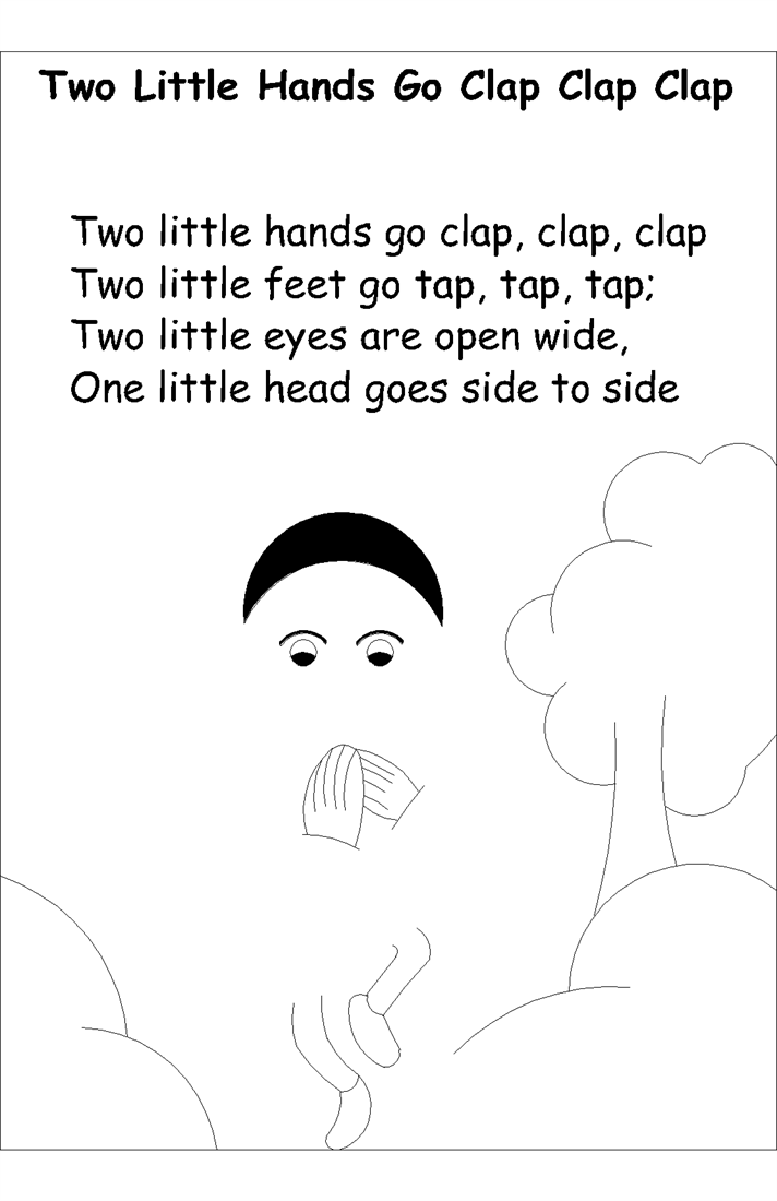 Nursery rhyme coloring pages- Two little hands