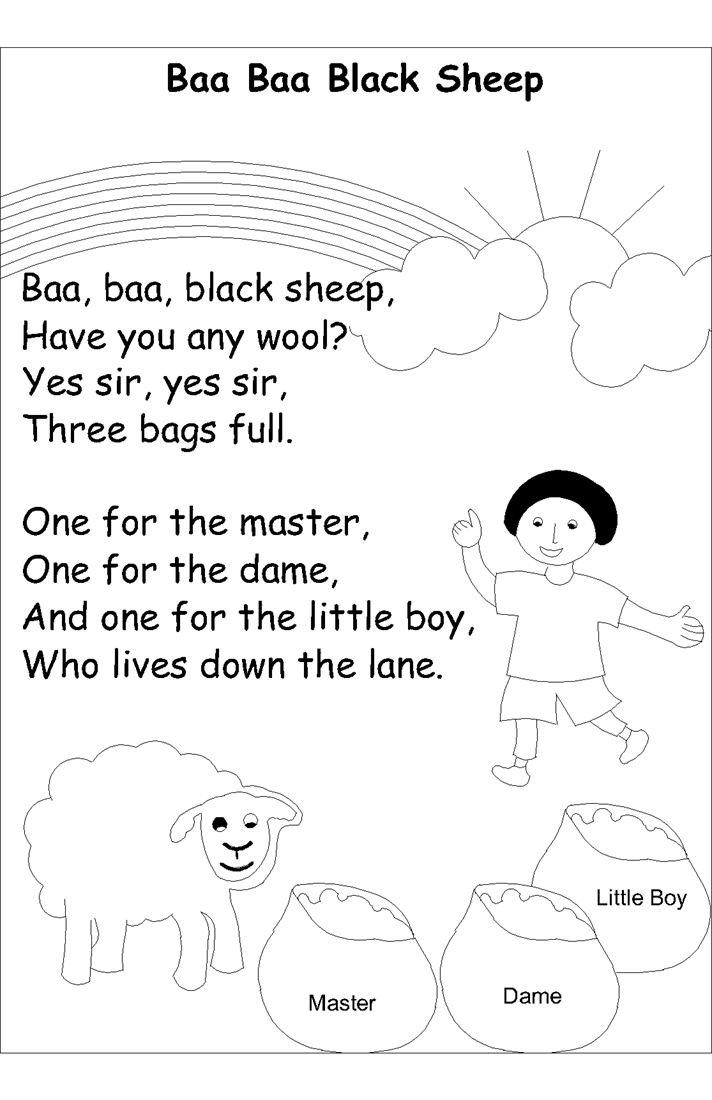 Nursery Rhyme Coloring Pages Pdf : Nursery rhyme coloring pages ba black sheep