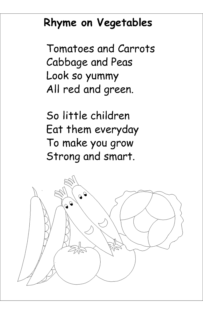 Nursery rhyme coloring pages- Vegetables