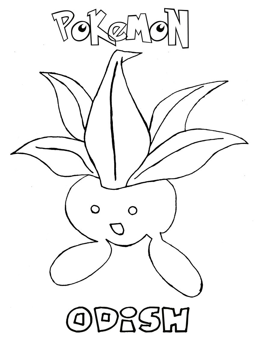 odish pokemon coloring page - Grass Type Pokemon Coloring Pages