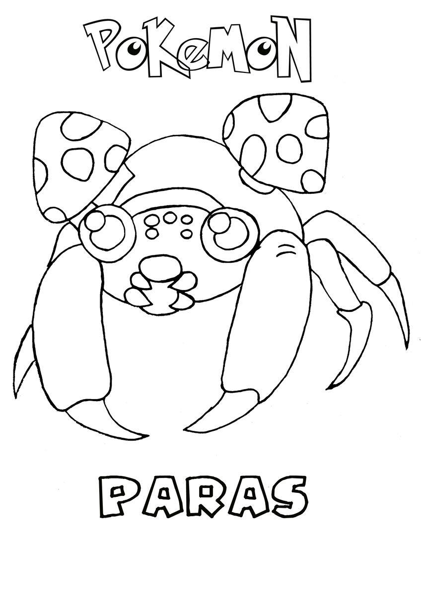 paras pokemon coloring page - Grass Type Pokemon Coloring Pages