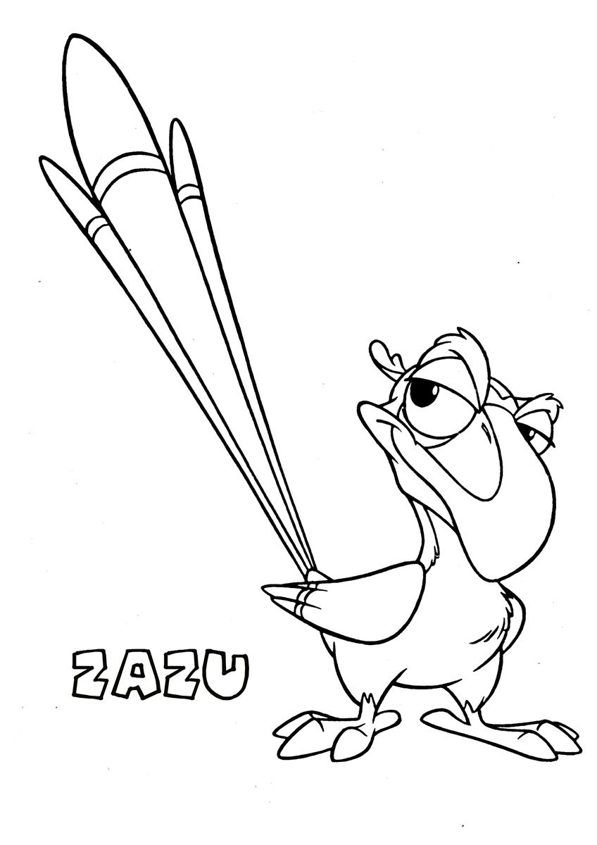 zazu coloring pages - zazu 2 the lion king coloring page