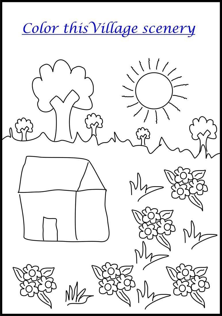 Village scenery coloring printable