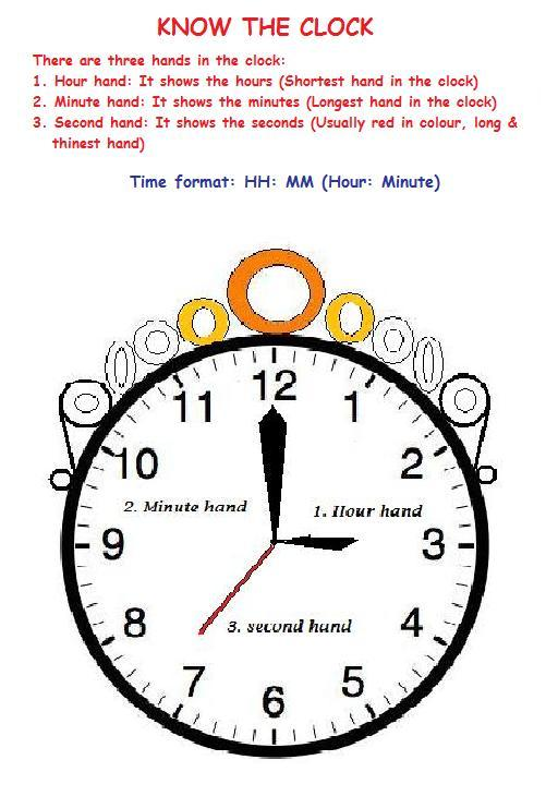 Worksheets Parts Of A Clock number names worksheets parts of a clock worksheet maths for learning the various units