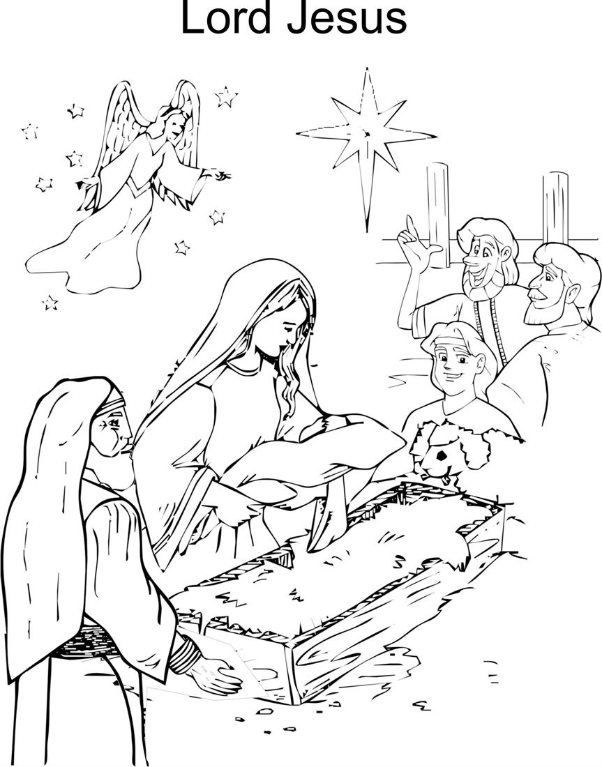 Jesus birth coloring printable