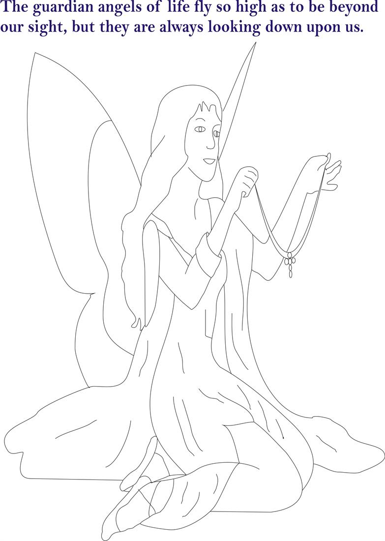 Angel printable coloring page for