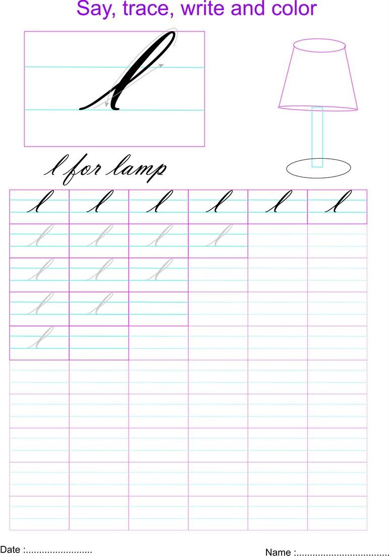 cursive small letter 39 l 39 worksheet. Black Bedroom Furniture Sets. Home Design Ideas