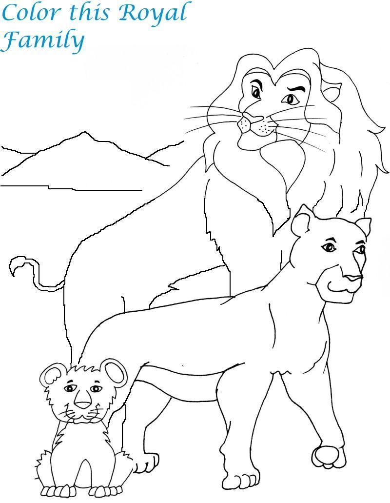 Lion Family The King Of Jungle Coloring Pages
