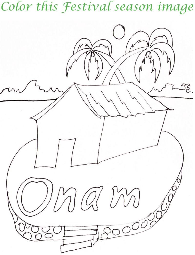 Onam printable coloring page for