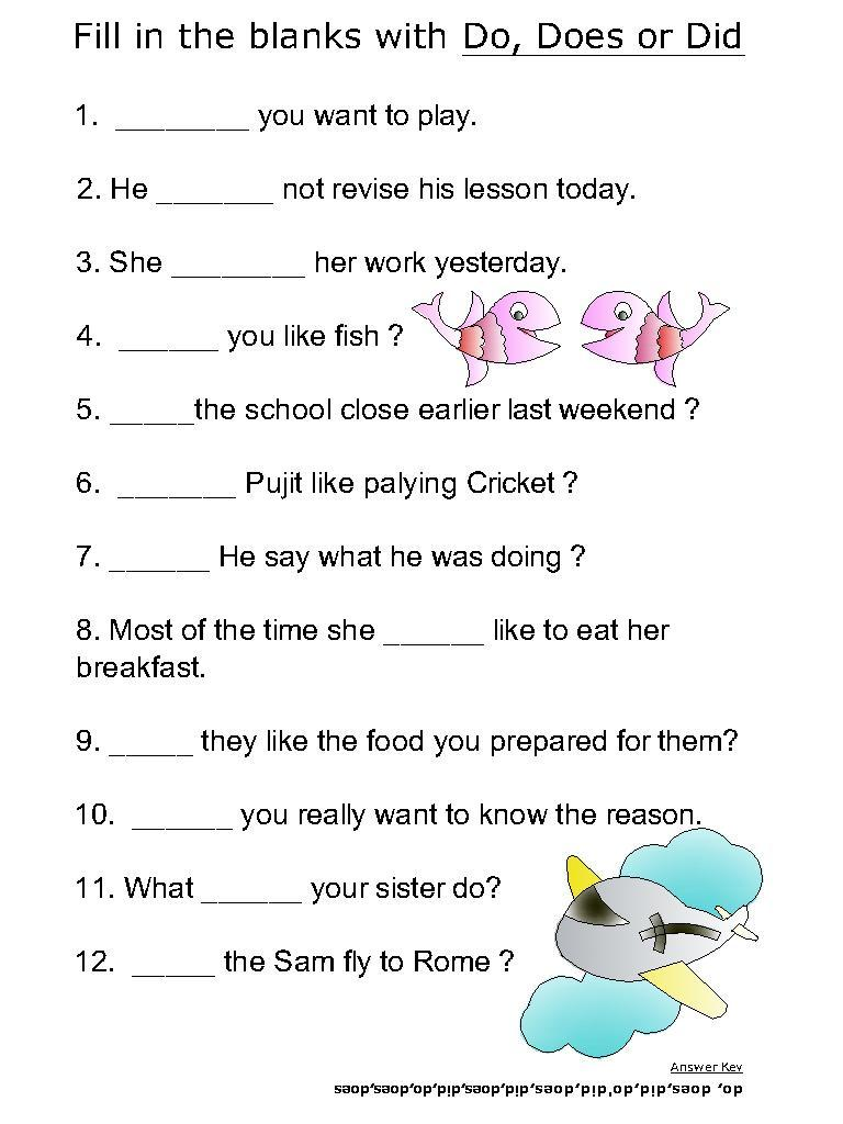 Helping verb worksheets for Do, Does, Did
