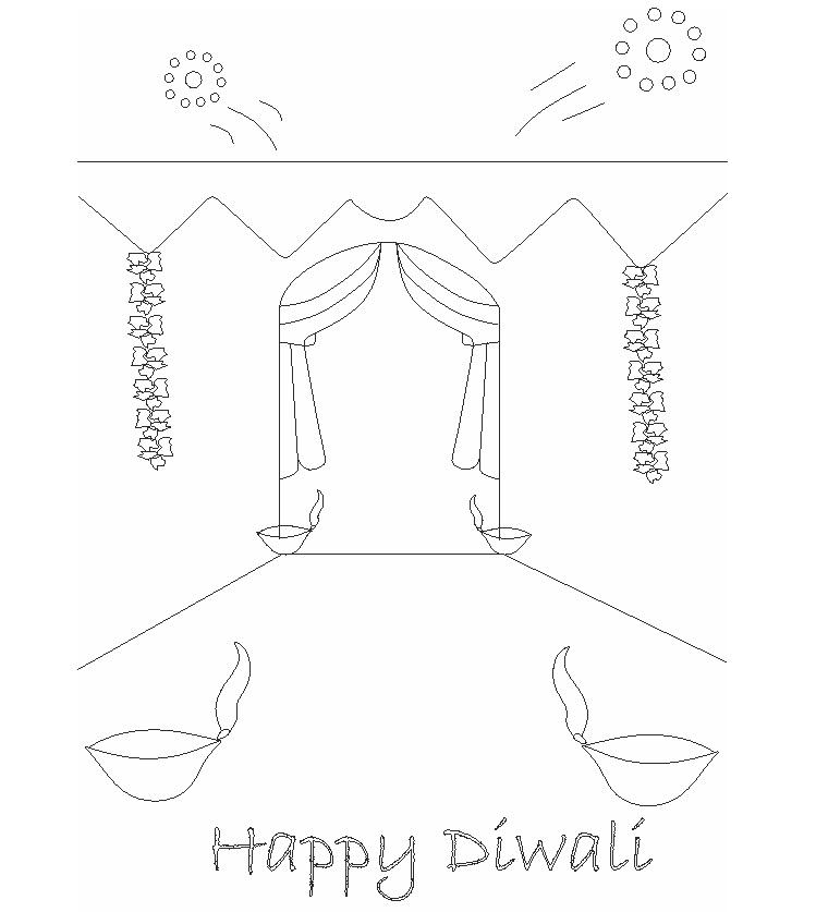 Diwali Printable Coloring Pages For Kids