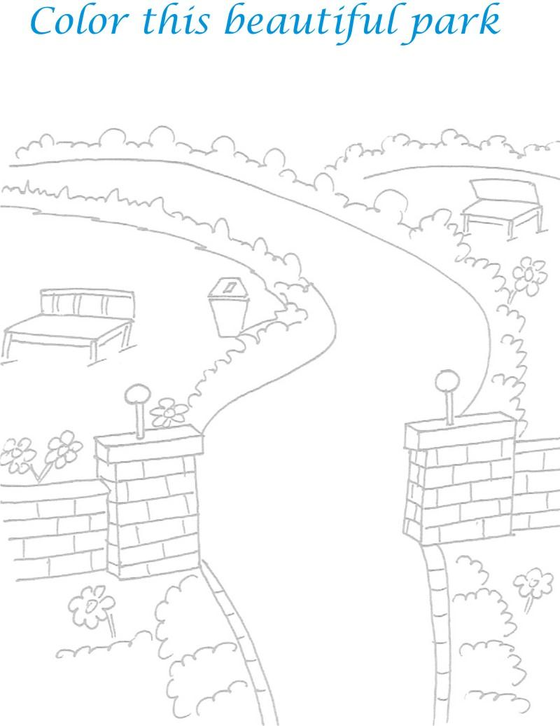 beautiful park scenery coloring page. Black Bedroom Furniture Sets. Home Design Ideas