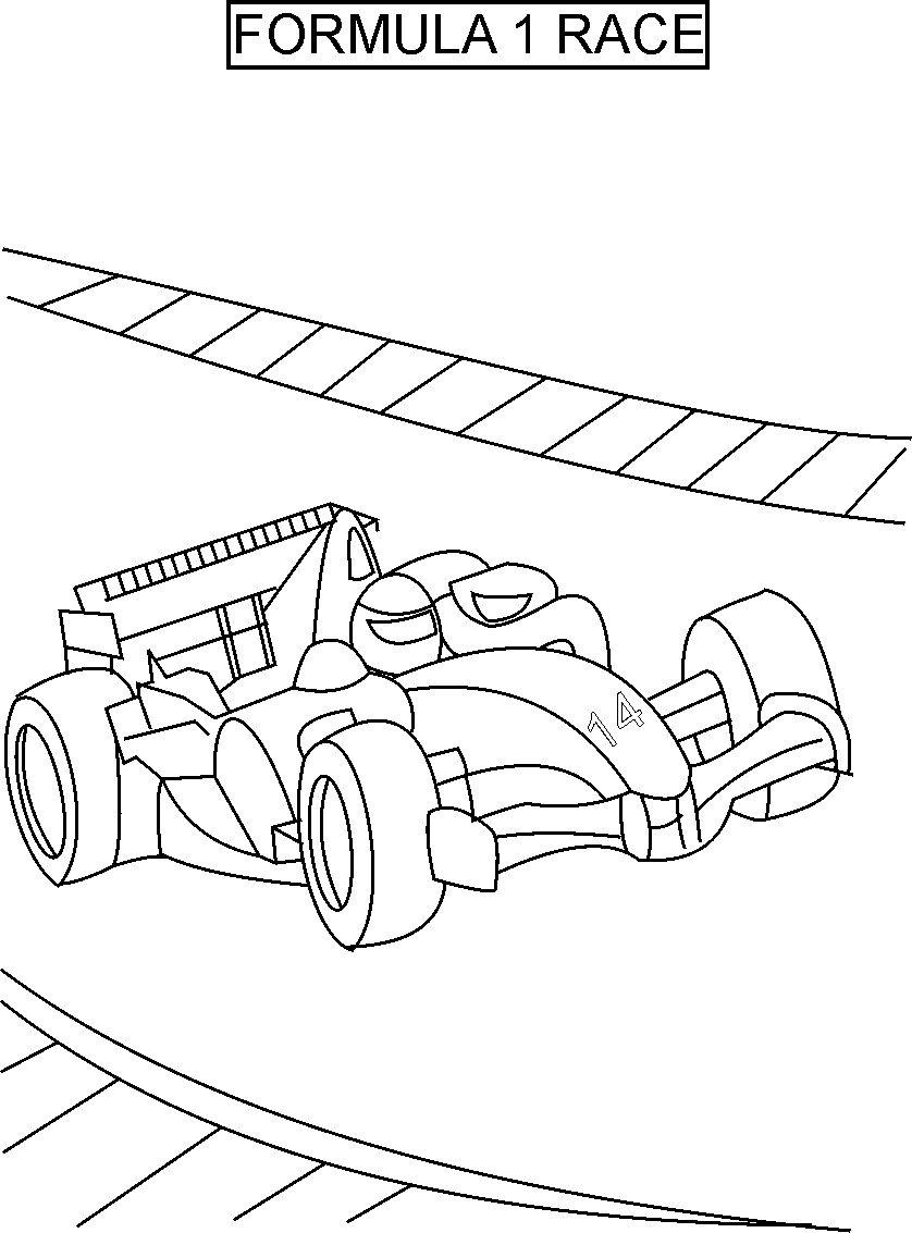 Formula one race coloring printable