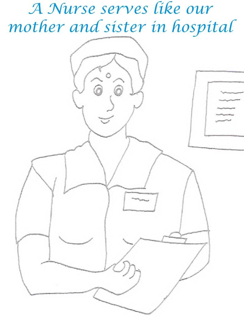 Nurse printable coloring page for kids